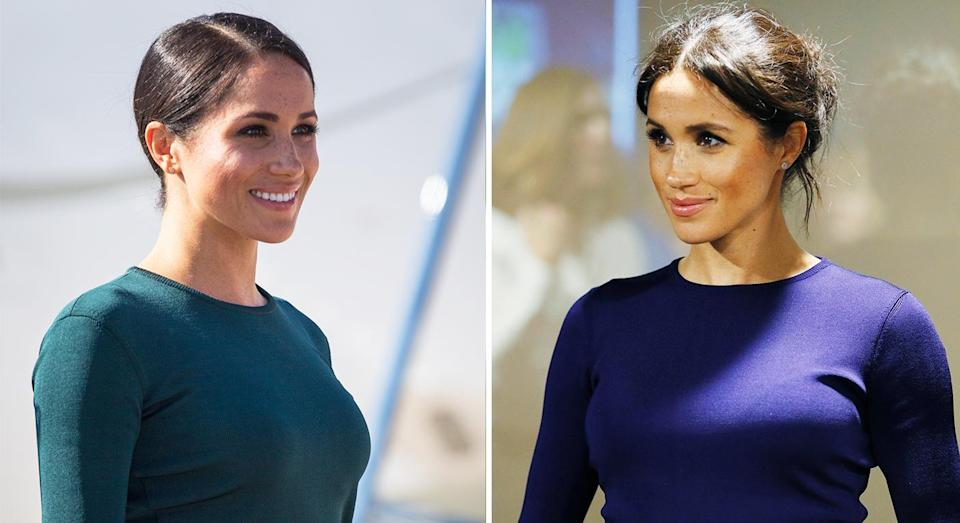 Meghan Markle has opted for the same Givenchy basic in two colours. [Photo: Getty]