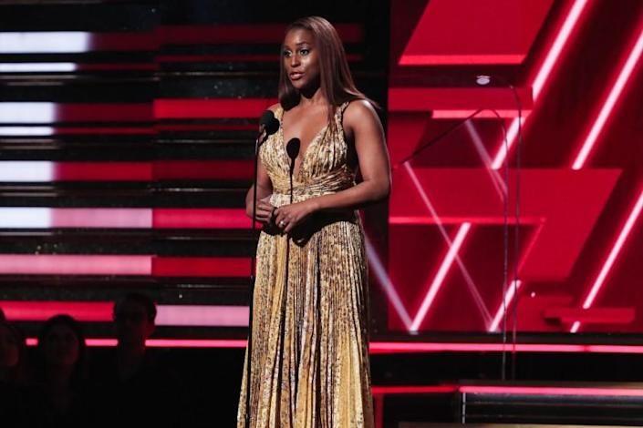 LOS ANGELES, CA - January 26, 2020: Issa Rae at the 62nd GRAMMY Awards at STAPLES Center in Los Angeles, CA.