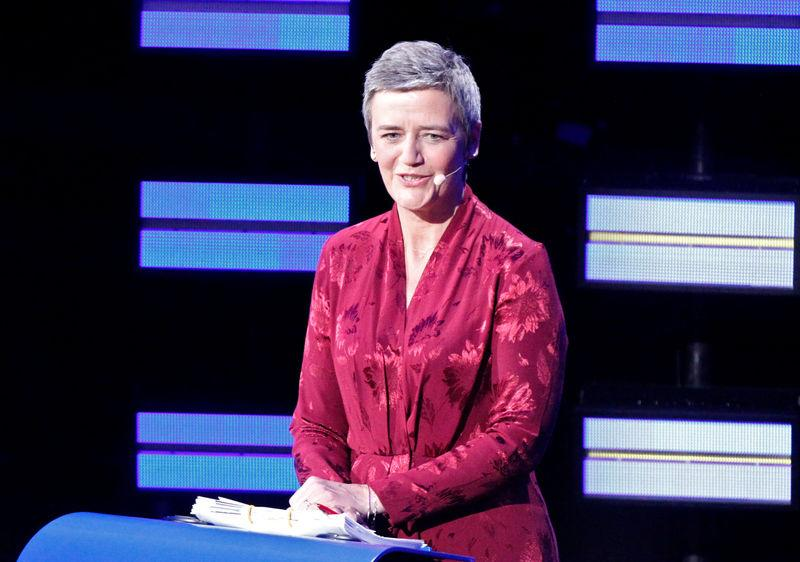 Margrethe Vestager of the Alliance of Liberals and Democrats for Europe (ALDE) reacts before a debate to be broadcast live across Europe from the European Parliament in Brussels