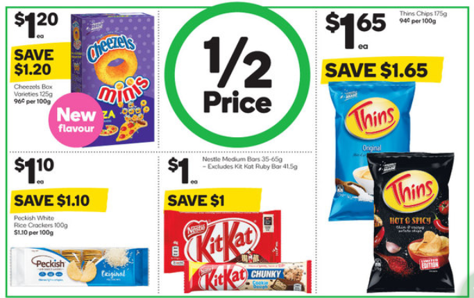 A screenshot from catalogue showing half-price specials.