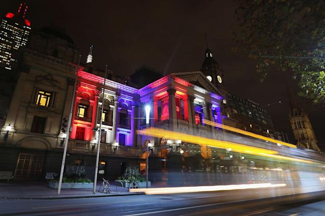 <p>The colors of the Union Jack, the national flag of the United Kingdom, are projected onto the Melbourne Town Hall as a tribute to Manchester Bombing victims on May 23, 2017 in Melbourne, Australia. (Michael Dodge/Getty Images) </p>