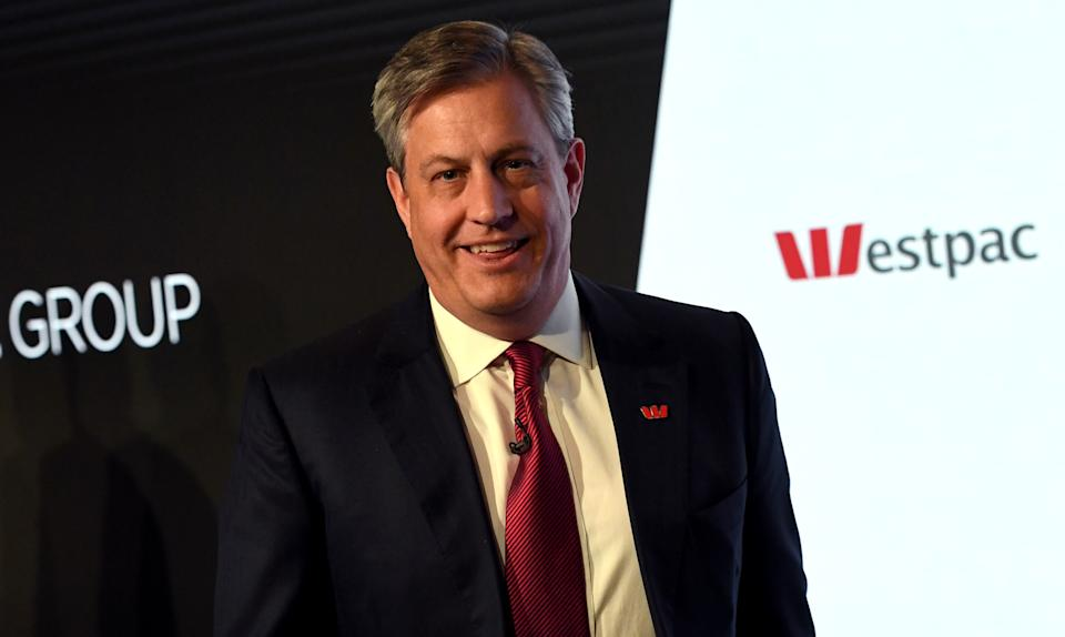 Westpac chief executive officer Brian Hartzer smiles as he leaves a media briefing in Sydney on November 7, 2016. - Australian banking giant Westpac posted a seven percent slide in annual net profit November 7 on the back of market headwinds and impairment charges but said it was well positioned with a strong balance sheet. (Photo by WILLIAM WEST / AFP) (Photo by WILLIAM WEST/AFP via Getty Images)