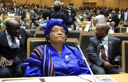 Johnson-Sirleaf attends the opening ceremony of the 22nd Ordinary Session of the African Union summit in Ethiopia's capital Addis Ababa