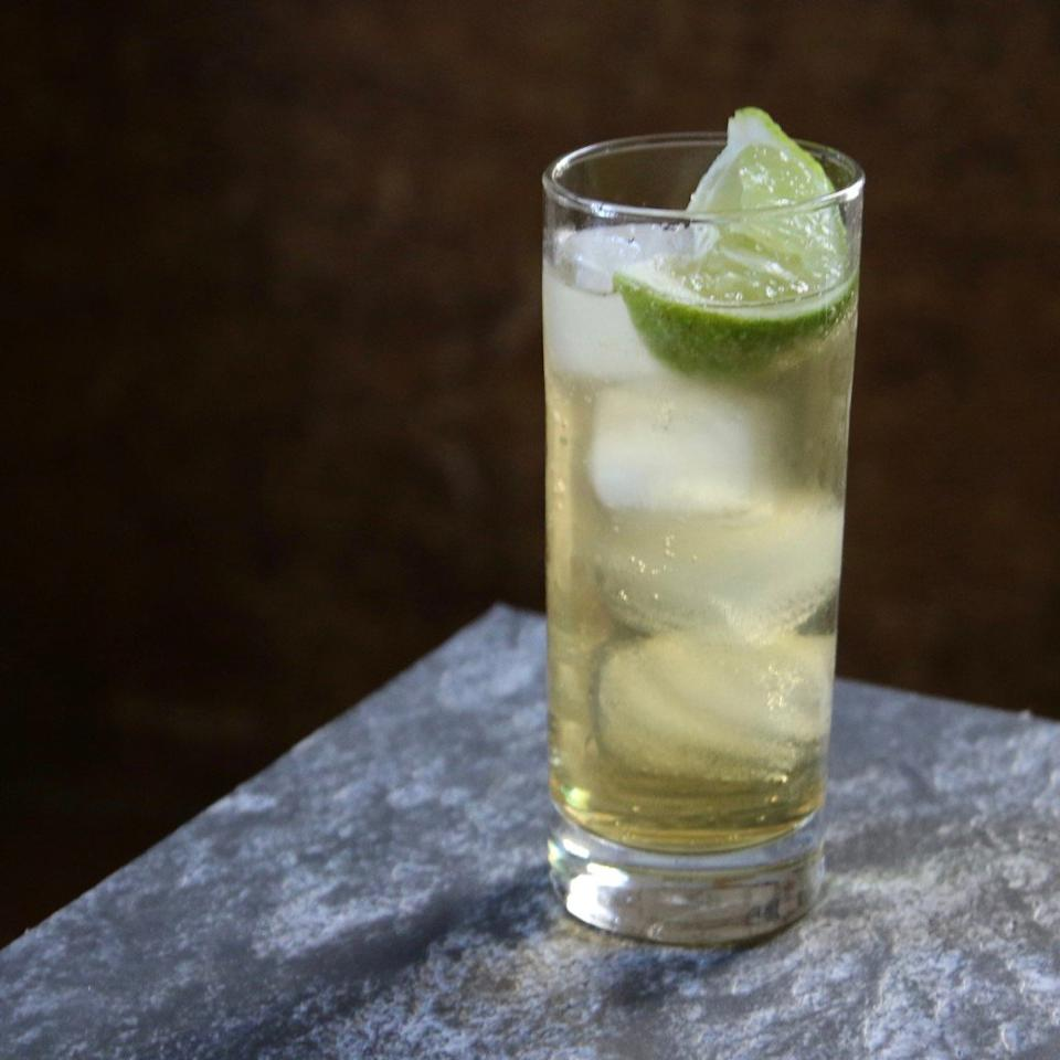 """<p>In a tall glass with ice, combine 1 ounce of Bénédictine and 4 ounces of a high-quality tonic water. Squeeze a lime wedge into the drink.</p> <p> <a href=""""http://www.foodandwine.com/fwx/drink/3-killer-cocktails-show-b-n-dictine"""">More Bénédictine recipes</a></p>"""