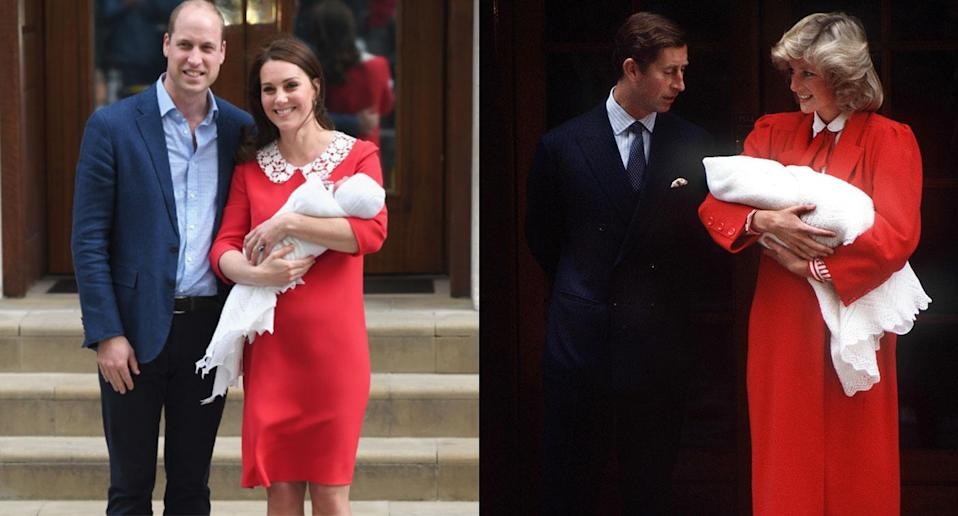 The Duchess of Cambridge paid tribute to Princess Diana in a red, collared frock. (Getty Images)