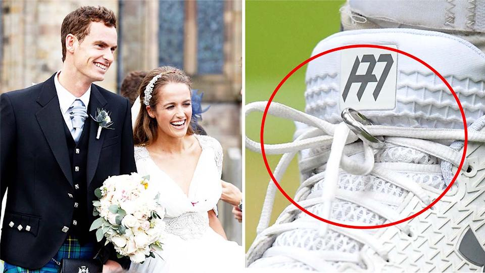 Andy Murray and Kim Sears (pictured left) at their wedding and (pictured right) Murray's wedding ring tied to his shoes.