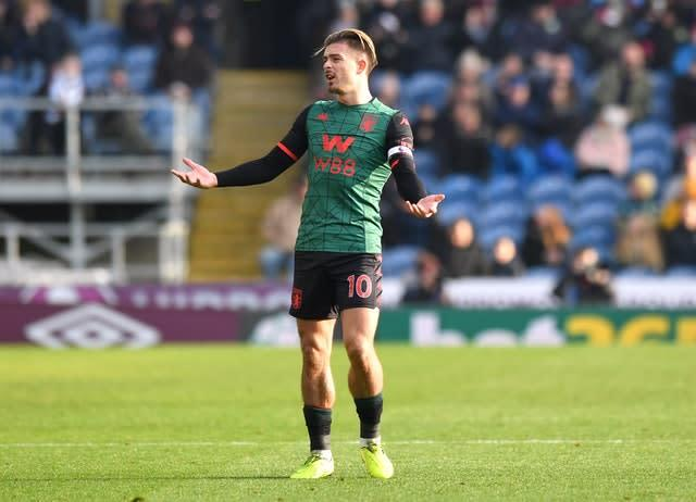 Jack Grealish reacts after his effort is ruled out (Anthony Devlin/PA).