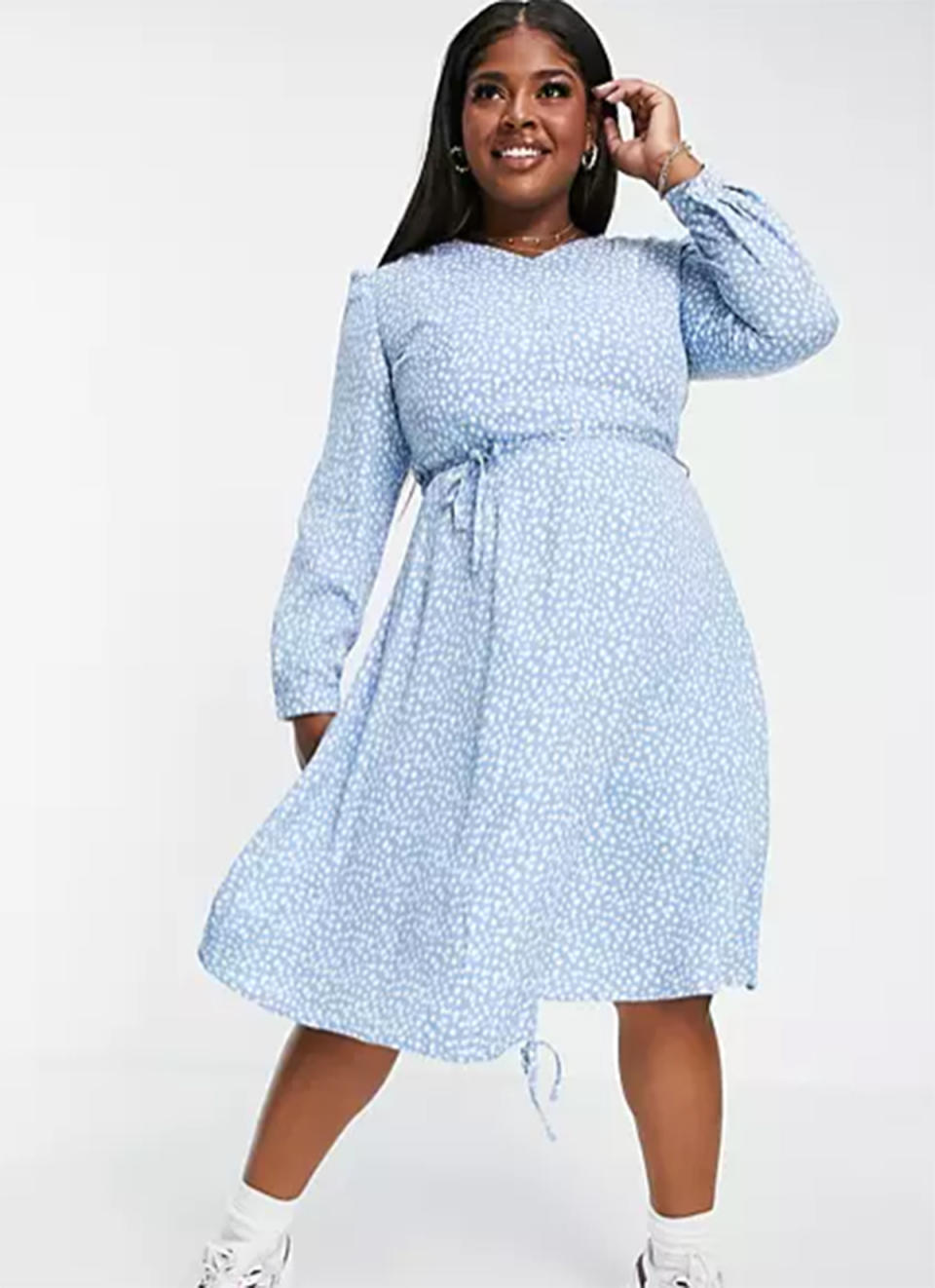 Daisy Street Plus long-sleeved midi dress with ruched front in floral ditsy print, $60 from ASOS. Photo: ASOS.