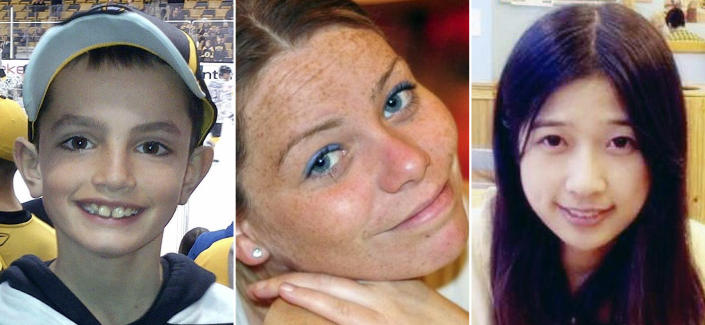 This combination of undated family photos shows, from left, Martin Richard, 8, Krystle Campbell, 29, and Lu Lingzi, a Boston University graduate student from China, all who were killed in the bombings near the finish line of the Boston Marathon on April 15, 2013, in Boston. Jury selection for the trial of bombing suspect Dzhokhar Tsarnaev is scheduled to begin Monday, Jan. 5, 2015, in federal court in Boston. (AP Photo/File)