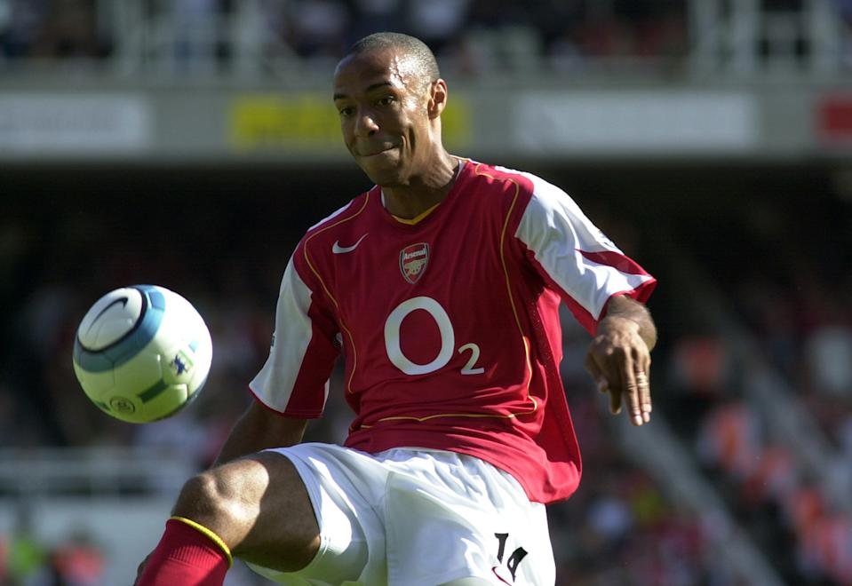 The first of Nike's Total 90 balls was the Aerow I. It saw a drop on goals as Chelsea won the title but Henry continued to dominate defenders throughout the league. (Photo by Eddy LEMAISTRE/Corbis via Getty Images)