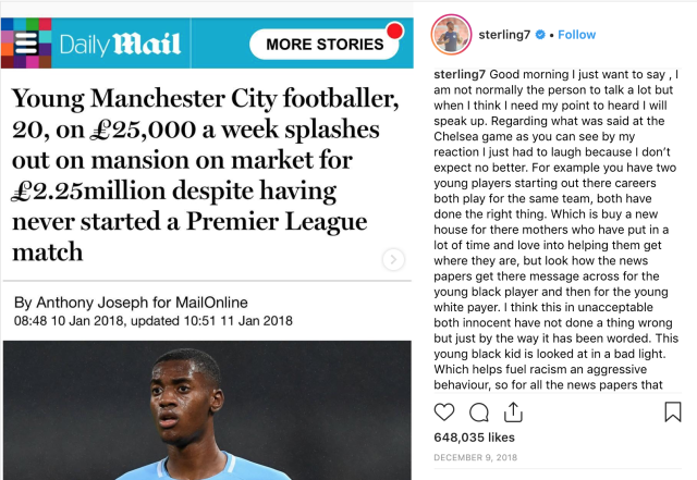 Raheem Sterling took a strong stance against racism in December 2018