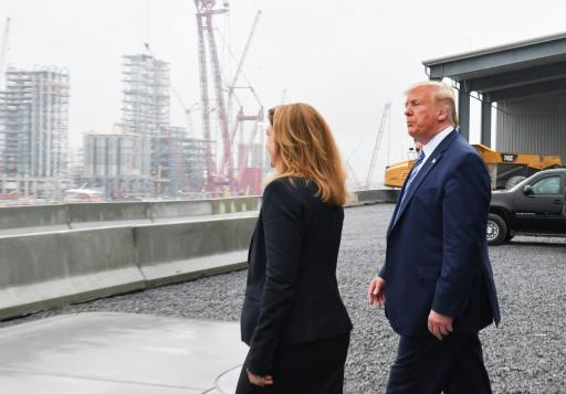 President Donald Trump tours a Shell petrochemical factory with Shell Oil company President Gretchen Watkins, saying that plastics pollution is not the fault of the US
