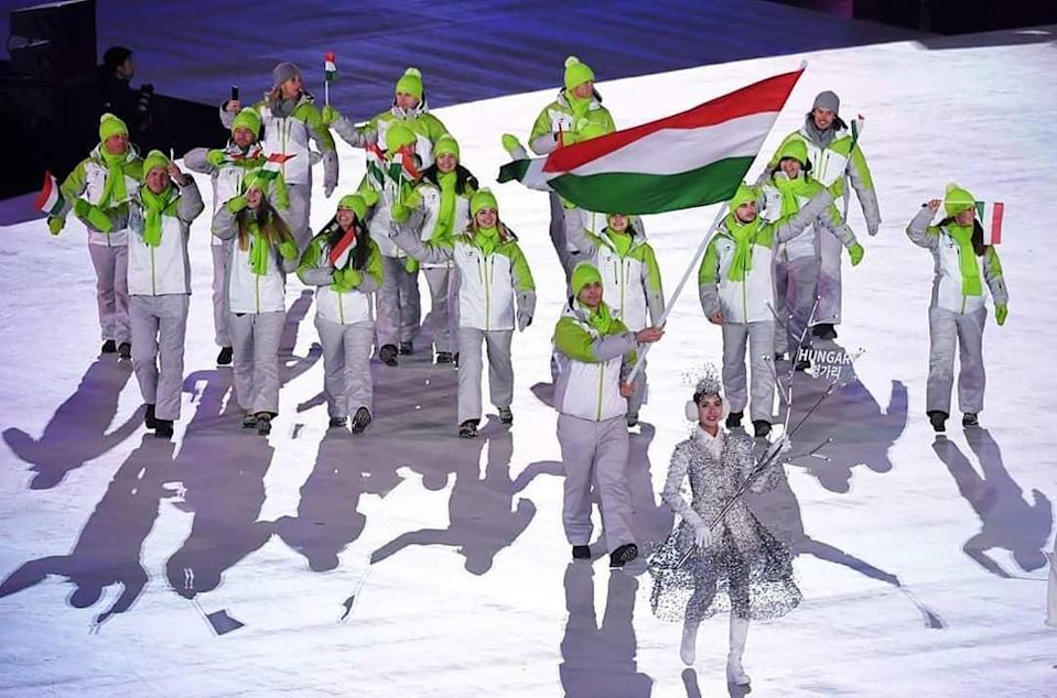 Liz Swaney, middle, walked in the Opening Ceremony with her adopted country of Hungary. (@lizswaney)