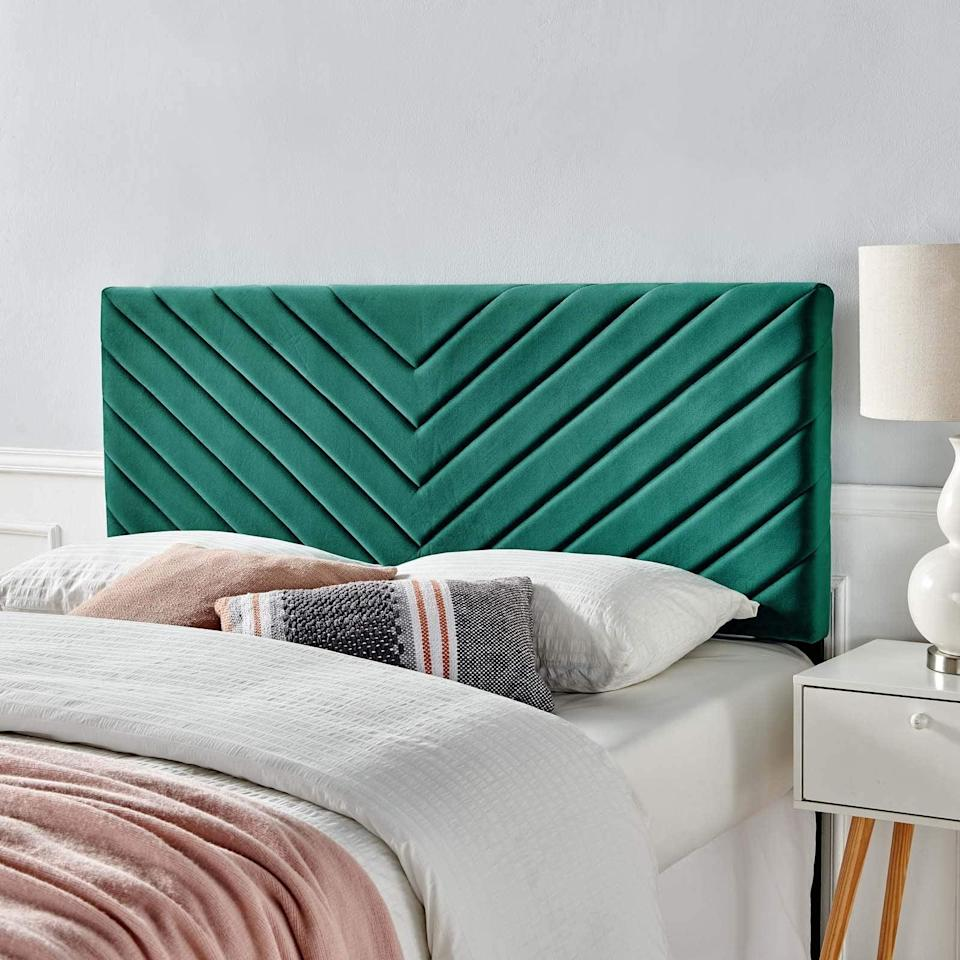 """<h3><a href=""""https://amzn.to/2SSCJ4F"""" rel=""""nofollow noopener"""" target=""""_blank"""" data-ylk=""""slk:Velvet Tufted Headboard"""" class=""""link rapid-noclick-resp"""">Velvet Tufted Headboard</a></h3><br><strong>Rebecca </strong><br><br><strong>How She Discovered It:</strong> """"I really wanted an Anthropologie channel tufted bed when I moved into my first apartment, but I also wanted to stay within my budget so I tried to find a similar look elsewhere. I looked at several home furniture sites until I decided to give Amazon a go. I found this adjustable headboard right away and it looks just as good as the $700+ ones I had wanted earlier.""""<br><br><strong>Why It's A Hidden Gem:</strong> """"There were so many cute color options, it was easy to attach to my bed, it's very sturdy, and I got the look I wanted for my room for a really great price.""""<br><br><strong>Modway</strong> Alyson Chevron Tufted Velvet Headboard, Teal, $, available at <a href=""""https://amzn.to/37FAG9n"""" rel=""""nofollow noopener"""" target=""""_blank"""" data-ylk=""""slk:Amazon"""" class=""""link rapid-noclick-resp"""">Amazon</a>"""