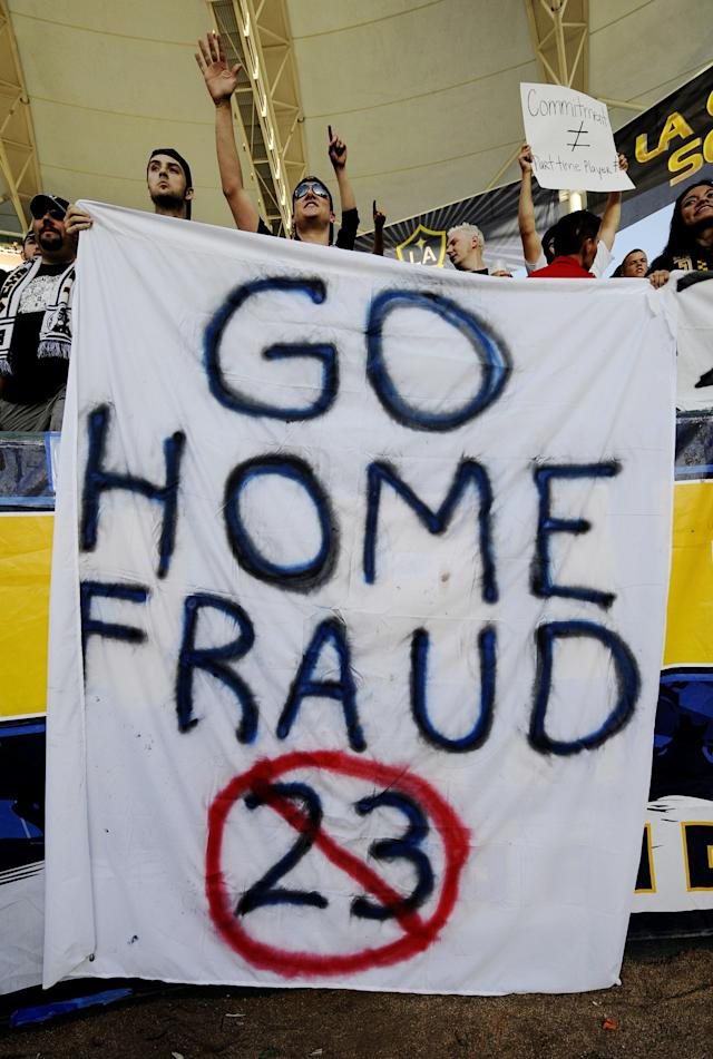 CARSON, CA - JULY 19: Los Angeles Galaxy supporters hold up signs for David Beckham #23 before the MLS match against AC Milan at The Home Depot Center on July 19, 2009 in Carson, California. (Photo by Kevork Djansezian/Getty Images)