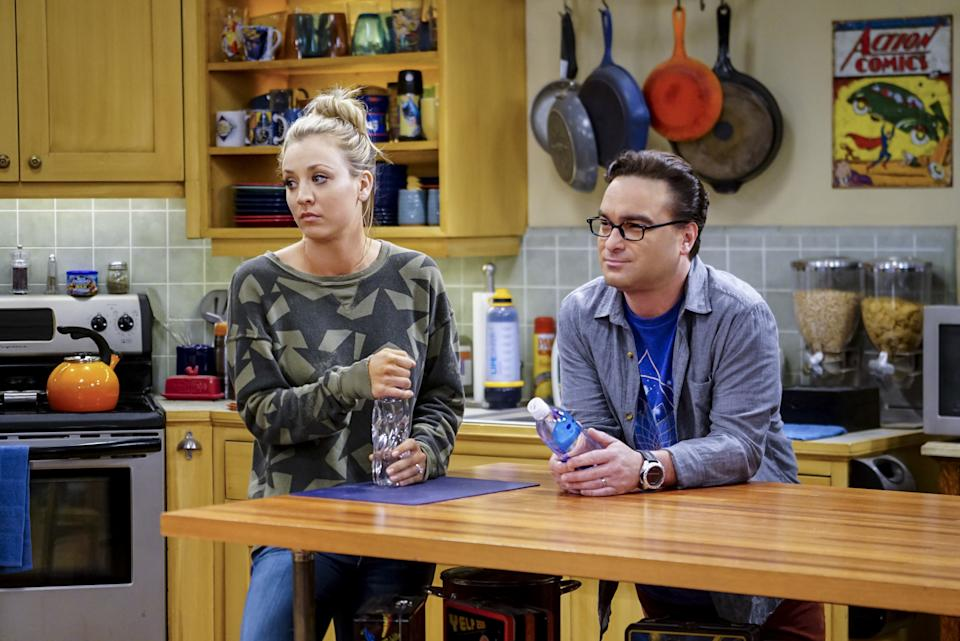 Kaley Cuoco and Johnny Galecki dated in real-life, as well as playing married couple Penny and Leonard on 'The Big Bang Theory'. (Sonja Flemming/CBS/Getty)