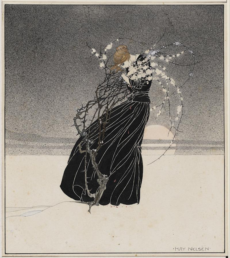Young woman embracing a thorn bush. Kay Nielsen, about 1910. Pen and brush and ink, transparent and opaque watercolor, over graphite. Promised gift of Kendra and Allan Daniel.