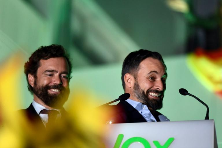 Vox's victory, which transformed the faction into the third largest party in parliament, delighted far-right leader Santiago Abascal (AFP Photo/OSCAR DEL POZO)