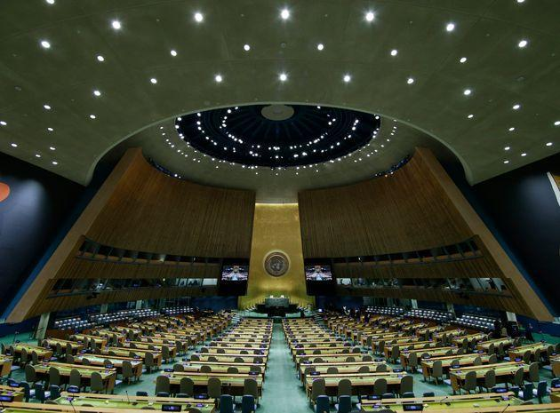 The UN General Assembly Hall is empty before the start of the SDG Moment event as part of the UN General Assembly 76th session General Debate at United Nations Headquarters, on September 20, 2021 in New York. (Photo by JOHN ANGELILLO / POOL / AFP) (Photo by JOHN ANGELILLO/POOL/AFP via Getty Images) (Photo: JOHN ANGELILLO via Getty Images)