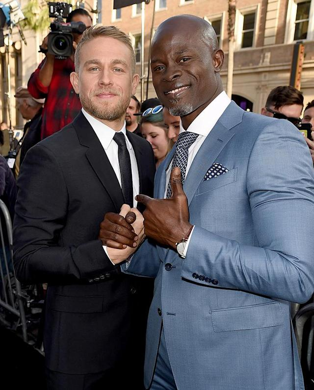 <p>The <em>King Arthur: Legend of the Sword</em> stars made for one incredibly dapper duo at the Hollywood premiere of their flick. (Photo: Kevin Winter/Getty Images) </p>