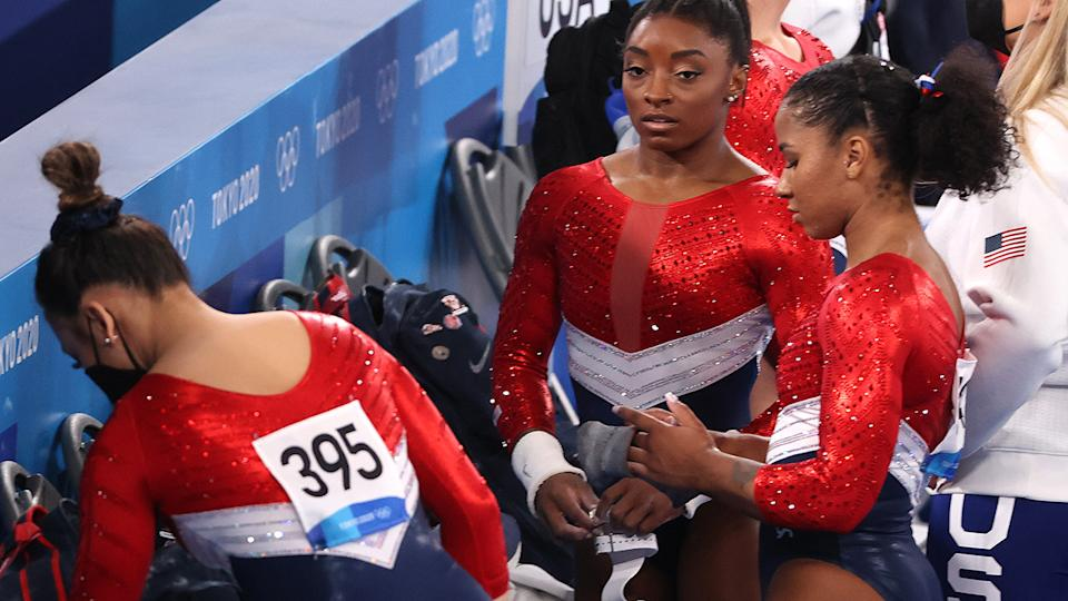 Simone Biles pulled out of the team final after her first vault attempt at the Tokyo Olympics. (Photo by Abbie Parr/Getty Images)