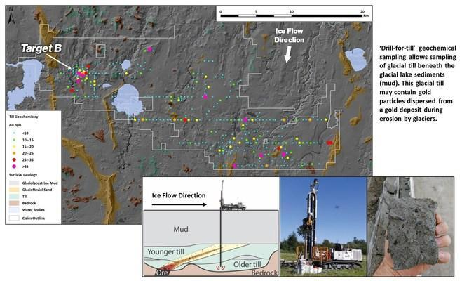 Figure 2. Surface geology and geochemistry results from the Chicobi project (CNW Group / Kenorland Minerals Ltd.)