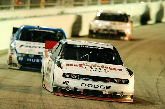 HOMESTEAD, FL - NOVEMBER 19: Brad Keselowski, drives the #22 Discount Tire Dodge, during the NASCAR Nationwide Series Ford 300 at Homestead-Miami Speedway on November 19, 2011 in Homestead, Florida. (Photo by Jared C. Tilton/Getty Images)