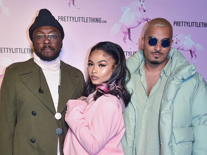 Will.i.am, India Love, and Umar Kamani attend the #PRETTY Video Release Celebration hosted by PrettyLittleThing.com at Stanley Social on February 22, 2019 in Los Angeles, California.