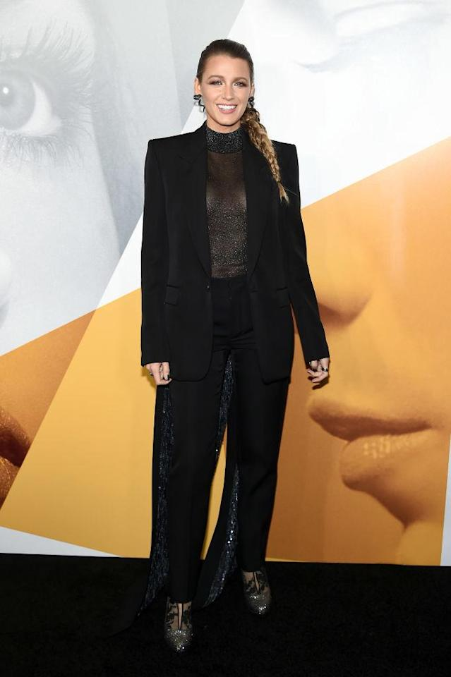 <p>Blake Lively continued her suit streak in a black Givenchy co-ord for the premiere of 'The Simple Favor' on September 10. The actress finished the look with Christian Louboutin heels. <em>[Photo: Getty]</em> </p>