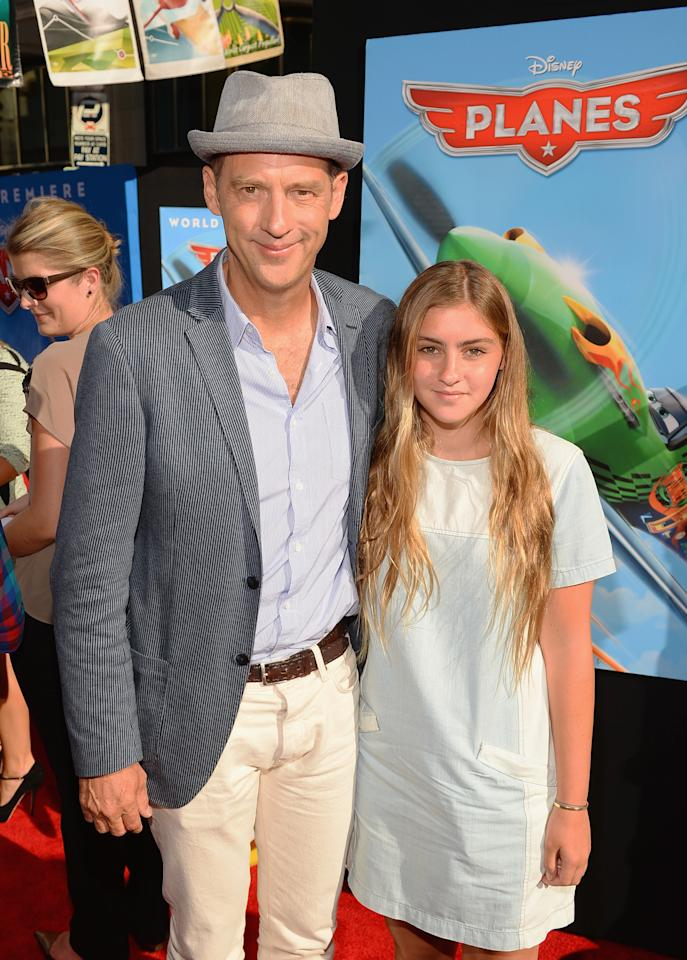 """HOLLYWOOD, CA - AUGUST 05: Actor Anthony Edwards and daughter attend the premiere of Disney's """"Planes"""" at the El Capitan Theatre on August 5, 2013 in Hollywood, California.  (Photo by Mark Davis/Getty Images)"""