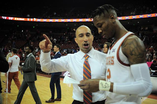 AUSTIN, TX - FEBRUARY 16: Texas Longhorn head coach Shaka Smart chats with Kerwin Roach II after 69 - 57 win over the Oklahoma State Cowboys on February 16, 2019 at the Frank Erwin Center in Austin, TX. (Photo by John Rivera/Icon Sportswire via Getty Images)