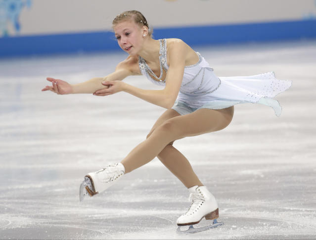 Polina Edmunds of the United States competes in the women's free skate figure skating finals at the Iceberg Skating Palace during the 2014 Winter Olympics, Thursday, Feb. 20, 2014, in Sochi, Russia. (AP Photo/Bernat Armangue)