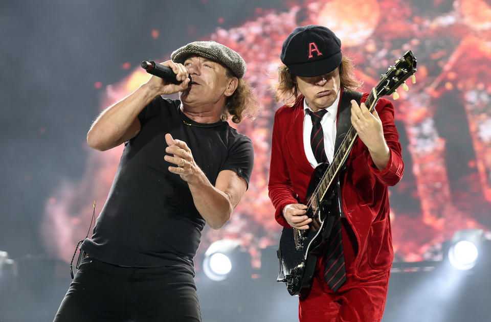 Brian Johnson and Angus Young performing in December 2015. (Photo: Martin Philbey/Redferns)