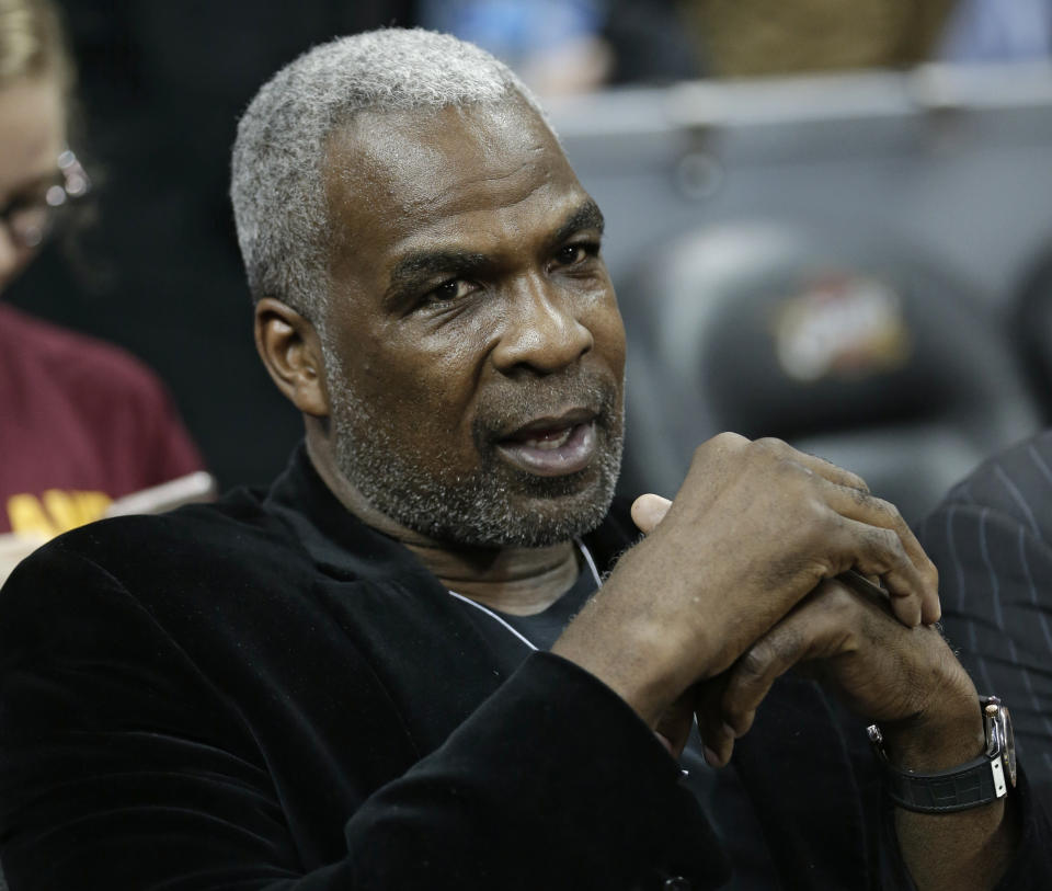 Charles Oakley is shown before an NBA basketball game between the Knicks and the Cleveland Cavaliers