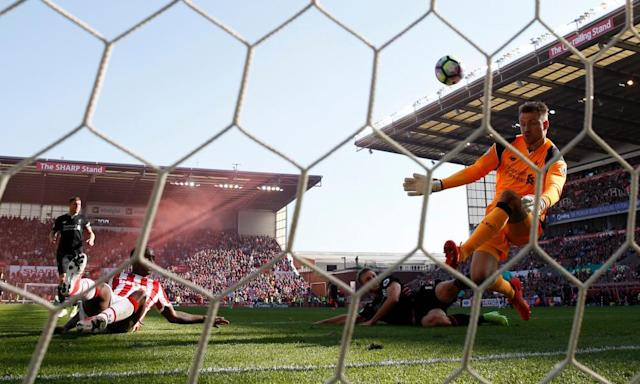 "<span class=""element-image__caption"">Saido Berahino still awaits his first Stoke City goal after Simon Mignolet saved brilliantly from close range on Saturday.</span> <span class=""element-image__credit"">Photograph: Carl Recine/Reuters</span>"