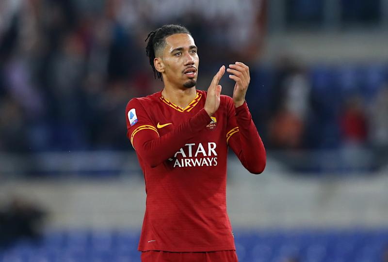 Chris Smalling of Roma greeting the supporters during the Serie A match AS Roma v Brescia Fc at the Olimpico Stadium in Rome, Italy on November 24, 2019 (Photo by Matteo Ciambelli/NurPhoto via Getty Images)