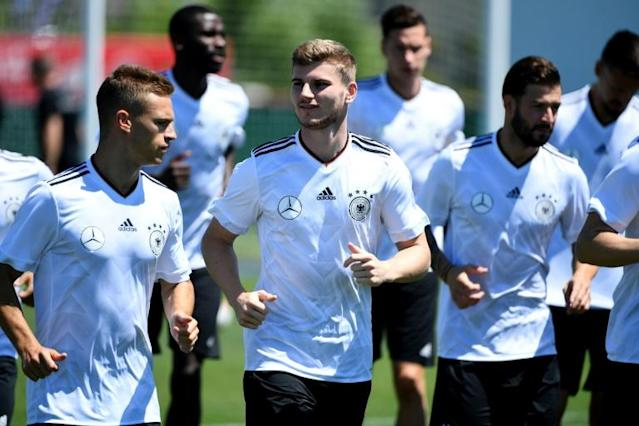 Timo Werner (C) participates in a Germany training session on the eve of their 2017 Confederation Cup match against Australia in Sochi