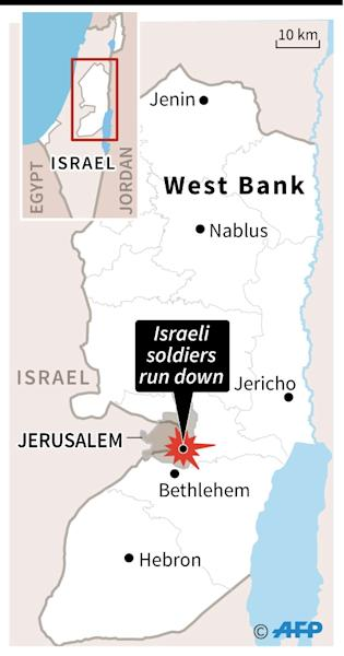 Map of the West Bank locating Sunday's incident in Jerusalem, where a truck ran down and killed several Israeli soldiers (AFP Photo/Jonathan JACOBSEN)