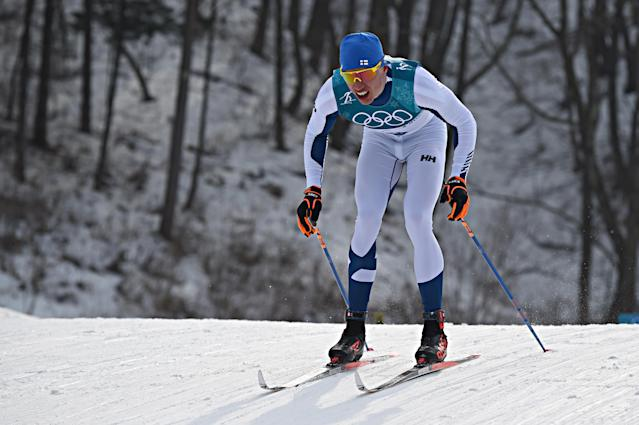 <p>Livo Niskanen competes during the Cross-Country Men's 50km Mass Start at Alpensia Cross-Country Centre on February 24, 2018 in Pyeongchang-gun, South Korea. (Photo by Michel Cottin/Agence Zoom/Getty Images) </p>