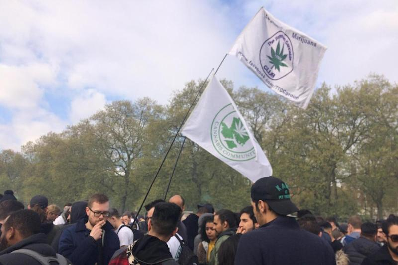Smoking: The annual event was held in Hyde Park