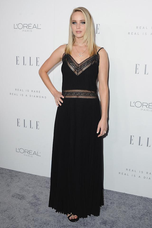 Jennifer Lawrence at <em> Elle</em>'s 24th Women in Hollywood celebration on Oct. 16. (Photo: Getty Images)