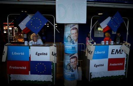 Supporters for Emmanuel Macron, head of the political movement En Marche !, (Onwards !), and candidate for the 2017 French presidential election, attend a campaign political rally in Saint-Herblain