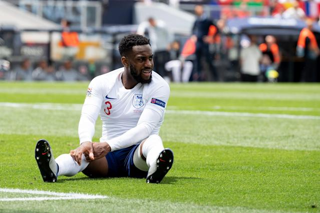 Danny Rose of England on the ground. (Photo by TF-Images/Getty Images)
