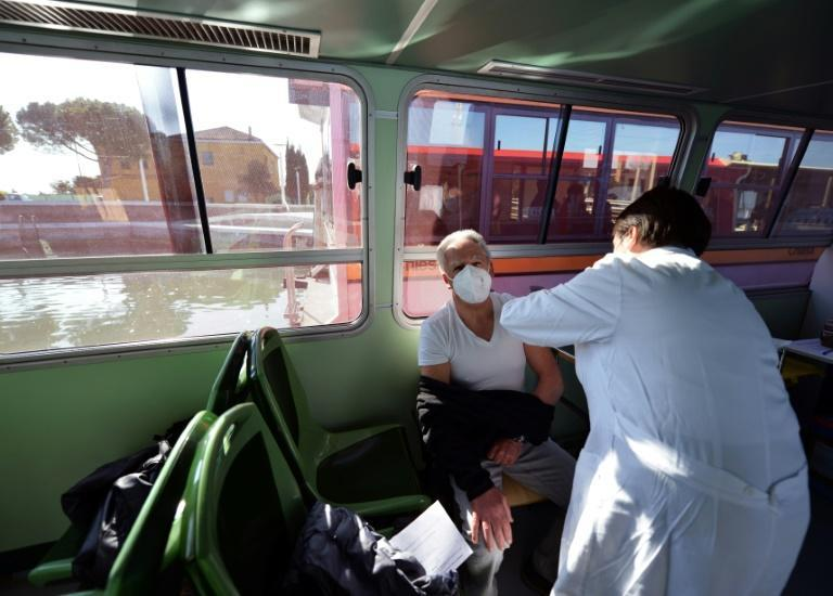 Venice has pressed into service its water-buses for use as floating vaccination centres