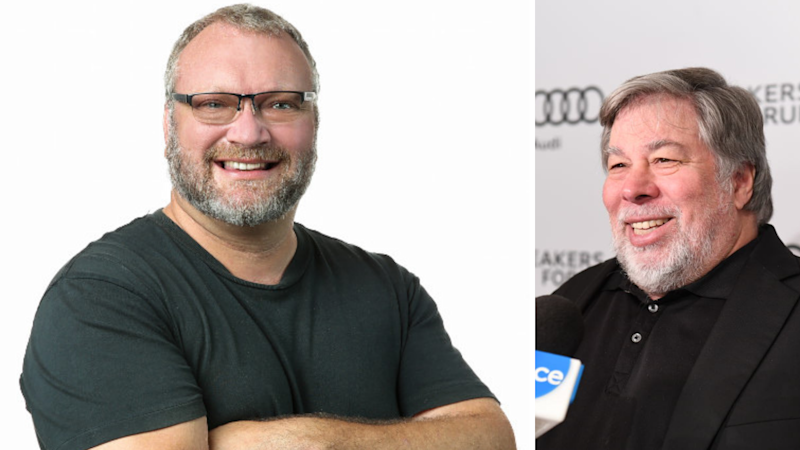 Neal Cross pictured on the left in a black t-shirt. His arms are crossed, he is smiling and he is wearing glasses. On the right, Steve Wozniak is pictured at an event. There is a microphone held to his face by someone else. He is wearing a black shirt and a black jacket, and he is smiling.