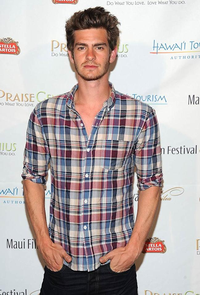 """<b>Andrew Garfield:</b> Sporting a plaid button down and messy hair, """"The Amazing Spider-Man"""" star proves that less really can be more. (06/18/2011)"""