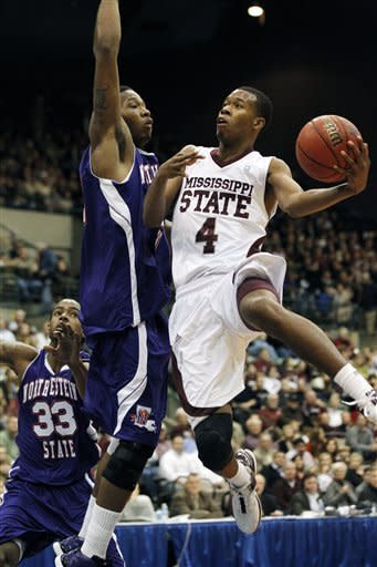 Mississippi State Bulldogs guard Rodney Hood (4) shoots a basket past Northwestern State Demons center William Mosley in the first half of their NCAA college basketball game in Jackson, Miss., Thursday, Dec. 22, 2011. (AP Photo/Rogelio V. Solis)