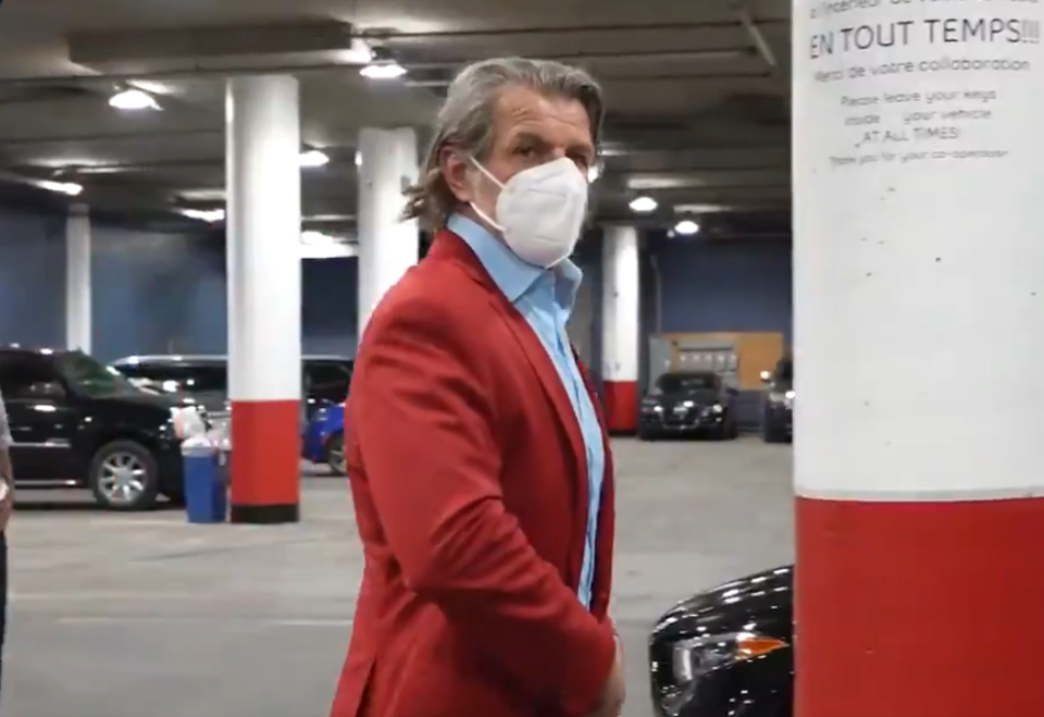 Marc Bergevin has been spotted wearing the same red suit for all three of his team's series-clinching wins this postseason. Terrifying. (Twitter/MontrealCanadiens)