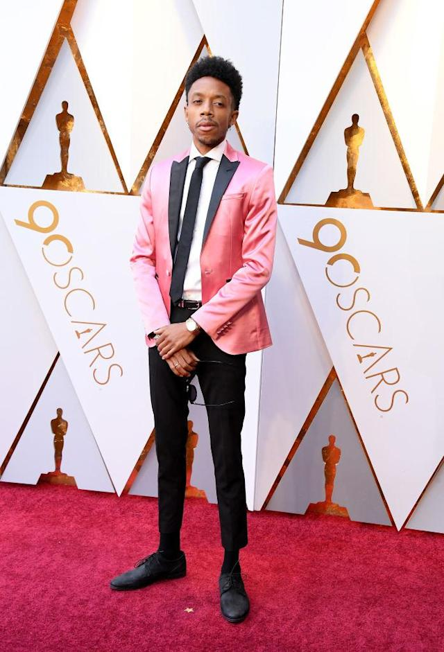 <p>Caleb Landry attends the 90th Academy Awards in Hollywood, Calif., March 4, 2018. (Photo: Getty Images) </p>