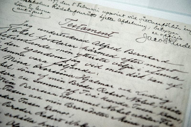 """The last will and testament of Swedish scientist Alfred Nobel is displayed on March 12, 2015 prior to the opening of the exhibition """"Legacy"""" at the Nobel Museum in Stockholm, Sweden (AFP Photo/Jessica Gow)"""